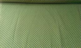 Bavln�n� tisk - olivov� zelen� punt�k