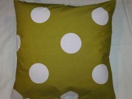 bavlnìný tisk - bílé kruhy na olivové