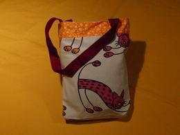 Taška dìtská - rùžové koèky se žlutým kytièkovým pruhem