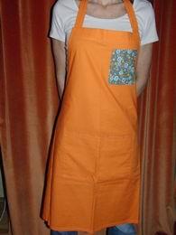 Zástìra dámská - oranžová se zelenou kapsou