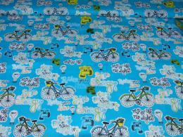 bavlnìný tisk - bicykly na modré