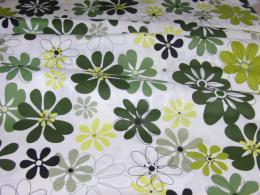 Bavlnìný tisk - kvìtiny v zelené na bílé