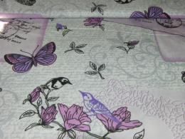 Bavlnìný tisk - motýl a ptáèci na šedobílé - zvìtšit obrázek