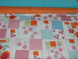 Bavlnìný tisk - oranžovo modré kvìtiny  ve ètvercích s puntíky