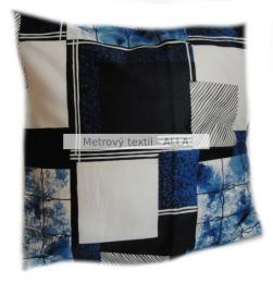povlak na polštáøek -  velké modroèerné ètverce na pøírodní bílé
