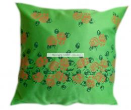 povlak na polštáøek -  satén zelený s oranžovými rùžièkami