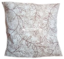 povlak na polštáøek -  hnìdé listy na pøírodní bílé
