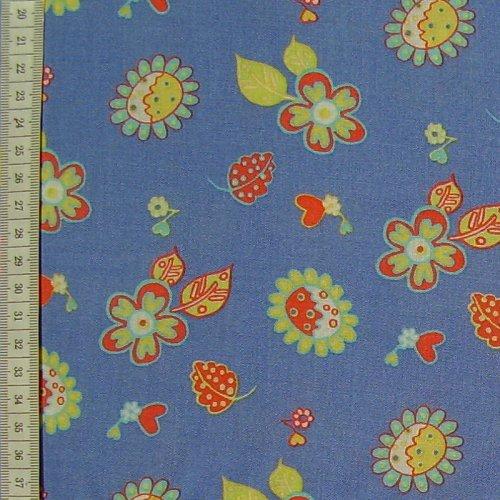 šatovka - žlutoèervené kytièky na modré ,viskoza - zvìtšit obrázek