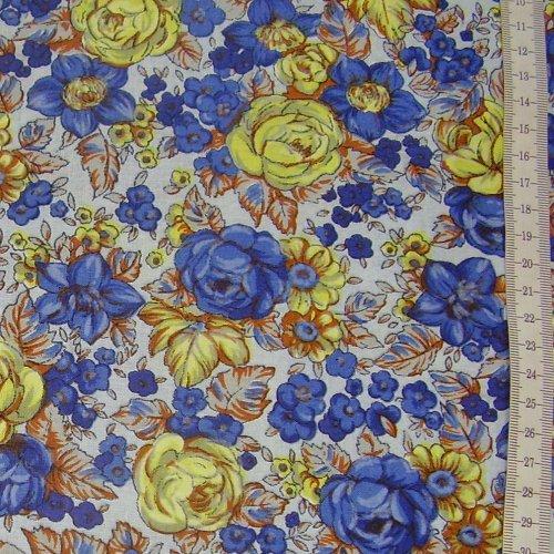 prádlovka - žluté a modré rùže na bílé - zvìtšit obrázek