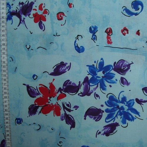 bavlna kytièky na svìtle modré - zvìtšit obrázek