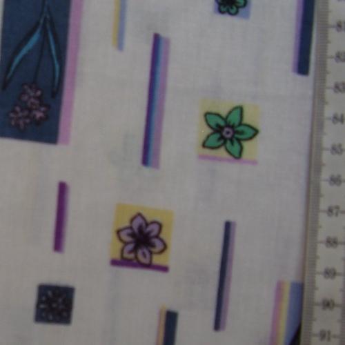šatovka - barevné kytièky v obdélníèkách na bílé - zvìtšit obrázek
