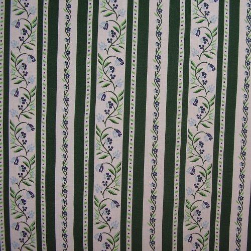 Aruna - zelenobílé pruhy s vlnovkami kytek - zvìtšit obrázek
