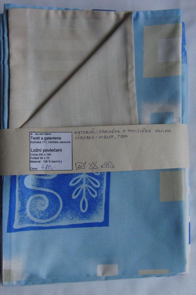 ložní povleèení -žlutý damašek s modrým bavlnìným tiskem - zvìtšit obrázek