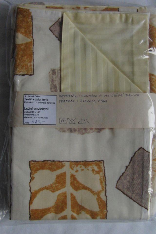 ložní povleèení - žlutý damašek s hnìdými listy - zvìtšit obrázek