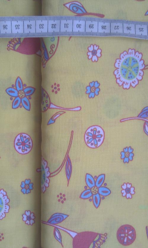 Viskóza - kytky na žluté - zvìtšit obrázek