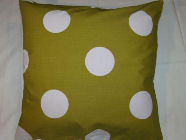 bavlnìný tisk - bílé kruhy na olivové - zvìtšit obrázek