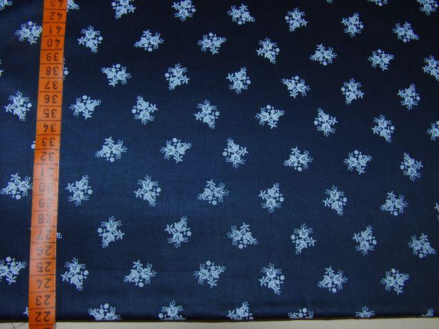 satén - kytièky na námoønické modré - zvìtšit obrázek