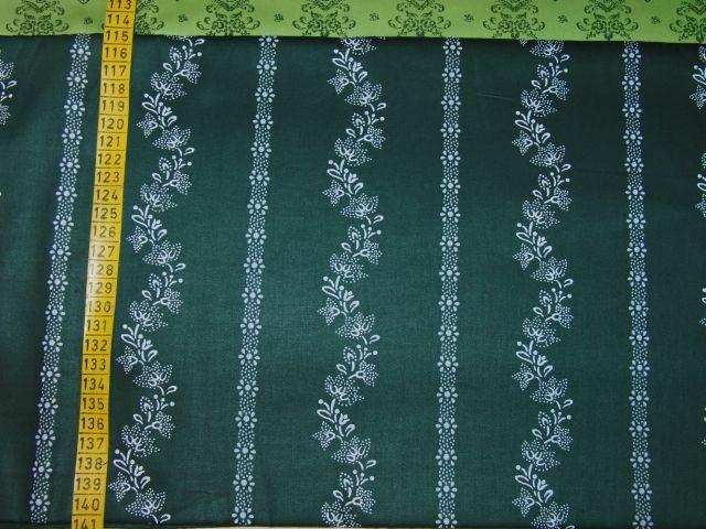 satén - kytky v pruzích na tmavì zelené - zvìtšit obrázek