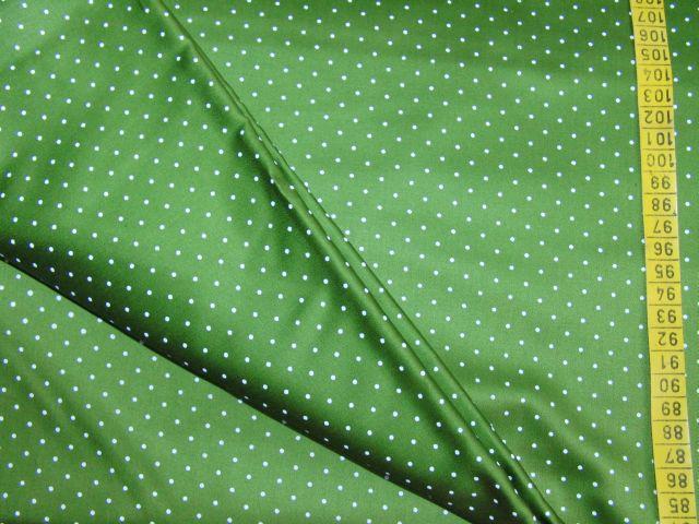 satén - støednì zelený s bílým puntíkem - zvìtšit obrázek