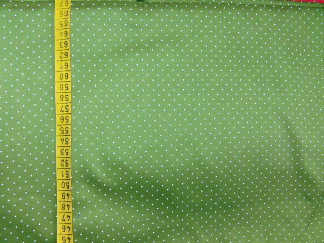 satén - støednì zelený s jemným bílým puntíkem - zvìtšit obrázek
