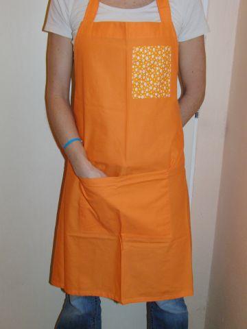 Zástìra dámská - oranžová se žlutou kapsou - zvìtšit obrázek
