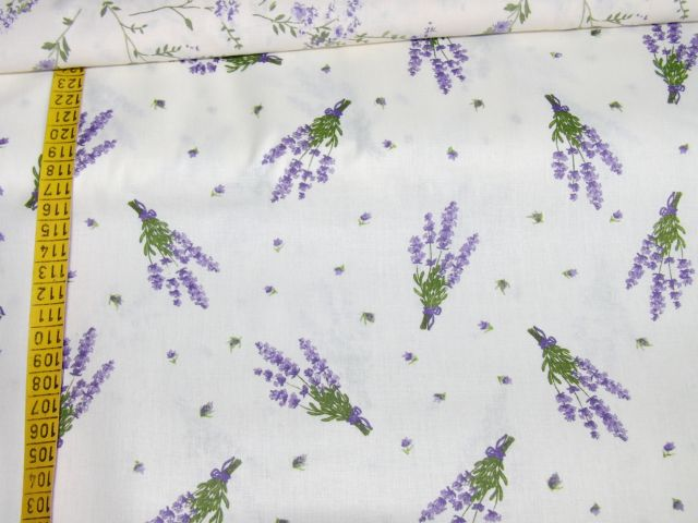 bavlnìný tisk - levandule na smetanové - zvìtšit obrázek