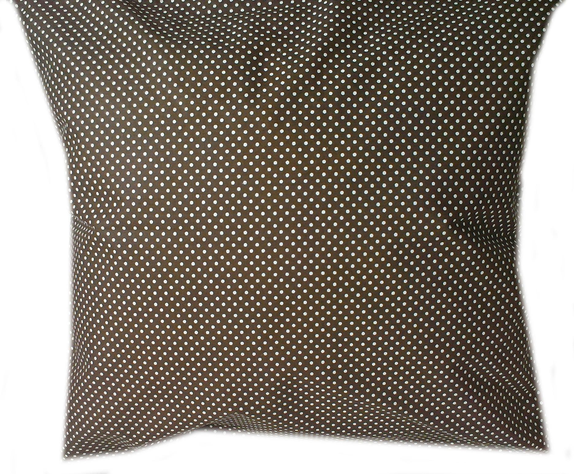 povlak na polštáøek - bílý puntíèek na tmavì hnìdé - zvìtšit obrázek