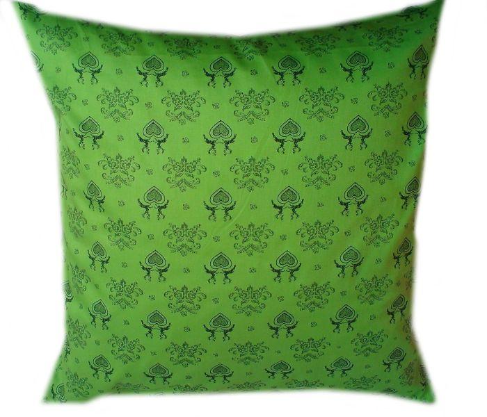 povlak na polštáøek - satén jasnì zelený se vzorem - zvìtšit obrázek