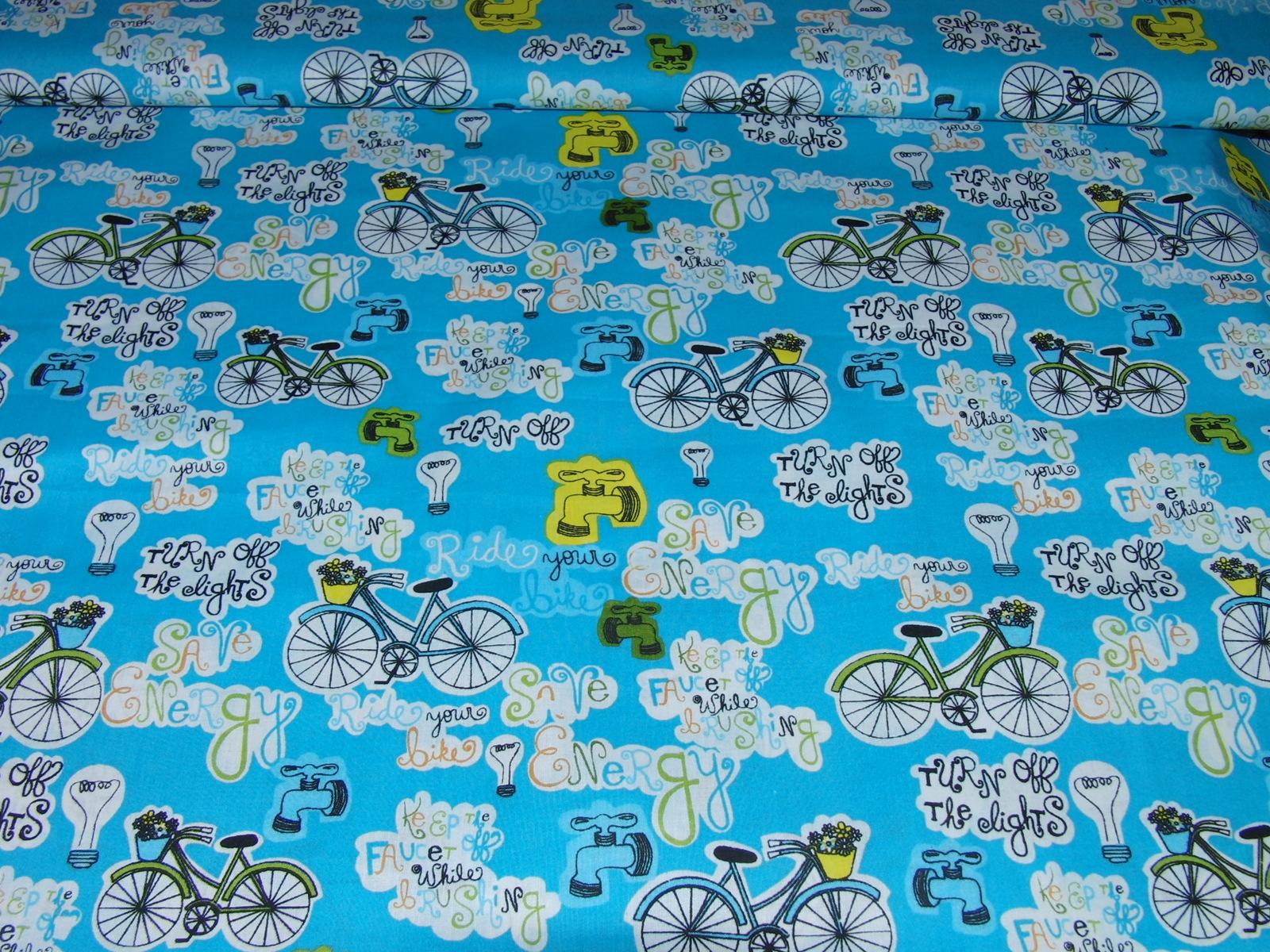 bavlnìný tisk - bicykly na modré - zvìtšit obrázek