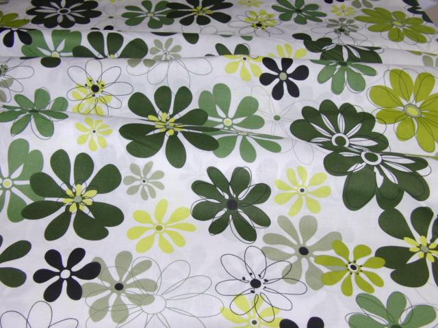 Bavlnìný tisk - kvìtiny v zelené na bílé - zvìtšit obrázek