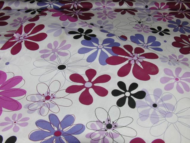 Bavlnìný tisk - kvìtiny ve èervenofialové na bílé - zvìtšit obrázek