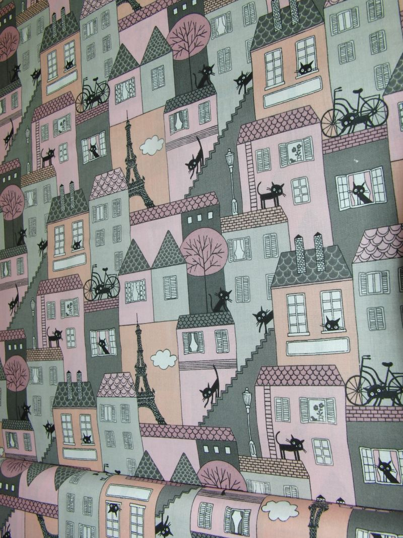 Bavlnìný tisk - Koèky na domech - zvìtšit obrázek