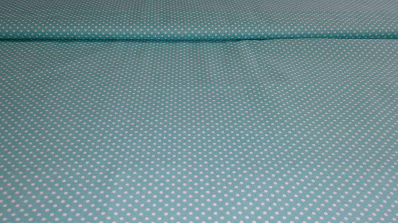 Bavlnìný tisk - azurový puntík - zvìtšit obrázek