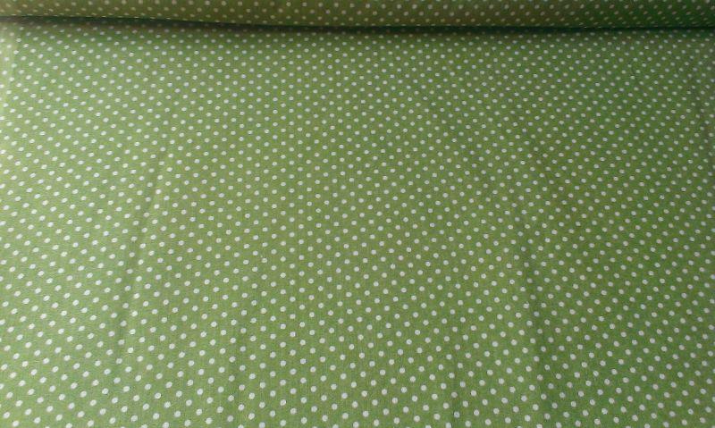 Bavlnìný tisk - olivovì zelený puntík - zvìtšit obrázek
