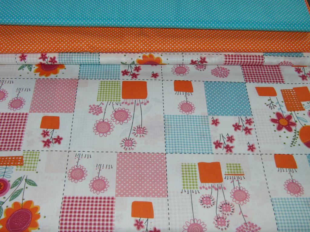 Bavlnìný tisk - oranžovo modré kvìtiny  ve ètvercích s puntíky - zvìtšit obrázek