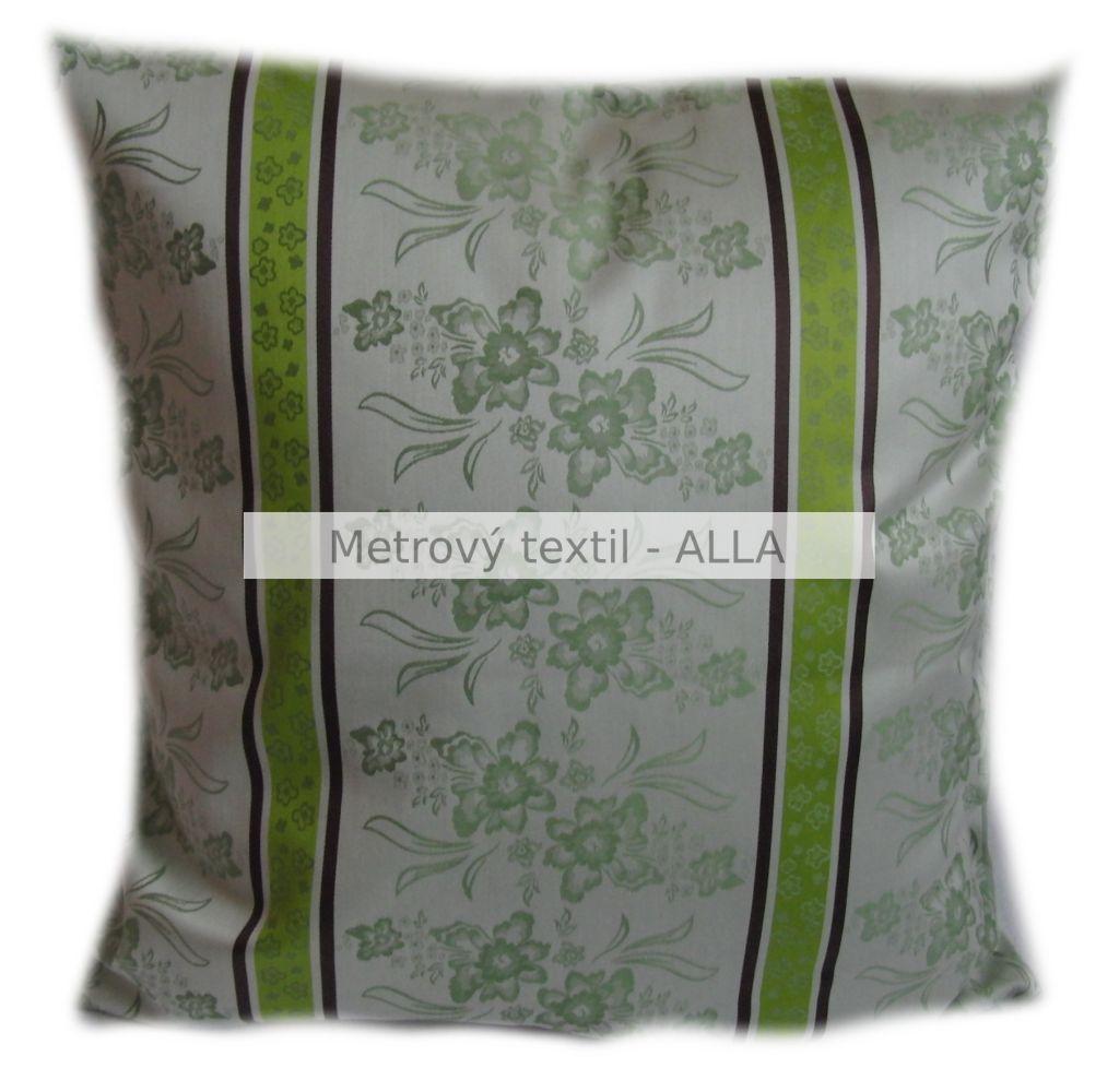povlak na polštáøek -  satén zelené kvìty s pruhy - zvìtšit obrázek