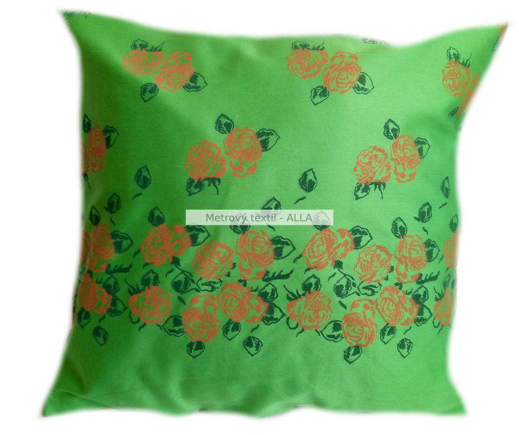 povlak na polštáøek -  satén zelený s oranžovými rùžièkami - zvìtšit obrázek