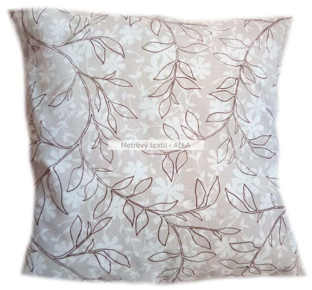 povlak na polštáøek -  hnìdé listy na pøírodní bílé - zvìtšit obrázek